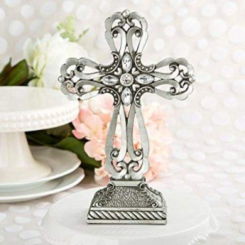 Pewter Cross Baptism and First Communion Centerpiece and Cake Topper by Fashioncraft -
