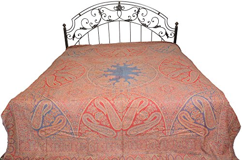 Red and Blue Reversible Jamawar Bedspread from Amritsar with Woven Paisleys - Pure Cotton (Jamawar Bedspread)