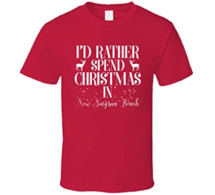 ba69f06b2481 New Smyrna Beach Rather Spend Christmas in City Family Vacation T Shirt S  Red
