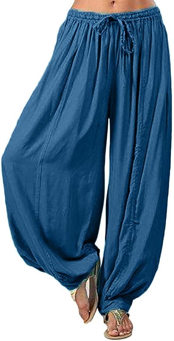 Ladies Cotton Linen High Waist Solid Color Loose Comfort Long Trousers Pants S-3XL Womens Casual Pants Plus Size Clearance