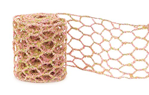 (Club Pack of 12 Pink and Green Micro-Beaded Netted Wired Craft Ribbon 4