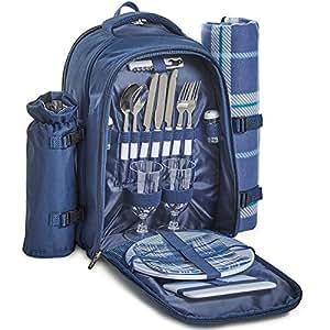 VonShef Cesta de Mochila Azul Tartán para Picnic para 2 Personas con Compartimiento Refrigerante – Incluye vajilla Y Manta de Lana
