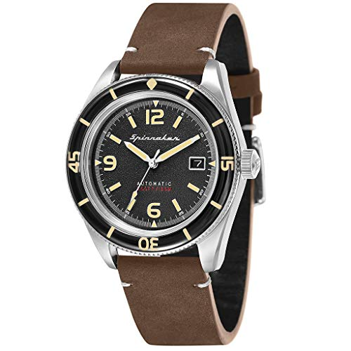 SPINNAKER Men's Fleuss 43mm Brown Leather Band Steel Case Automatic Black Dial Analog Watch SP-5055-01