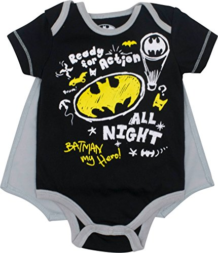 (Justice League Batman Baby Boys' Bodysuit and Cape Set, Black (0-3)