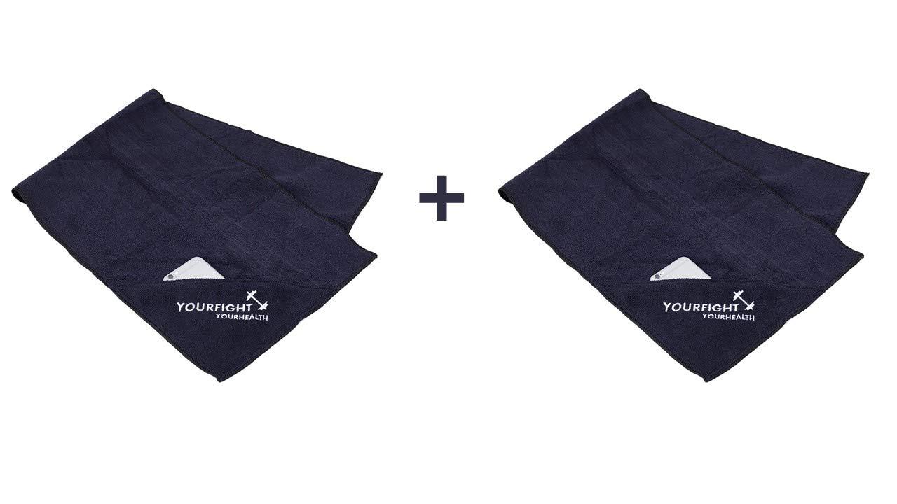 RR Sports – Set di 2 asciugamani sportivi, in microfibra, con borsa e chiusura lampo, ideale per panca, blu scuro RR' s Fitness Shop