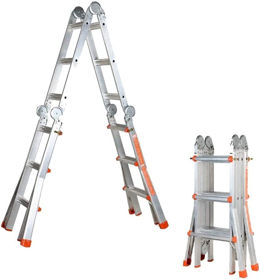 SYF escalera de aluminio para interiores y exteriores | escalera telescópica plegable de ingeniería, escalera portátil para el hogar, 5 m/7 m, barra de ingeniería, multifunción, variedad de escaleras se puede utilizar