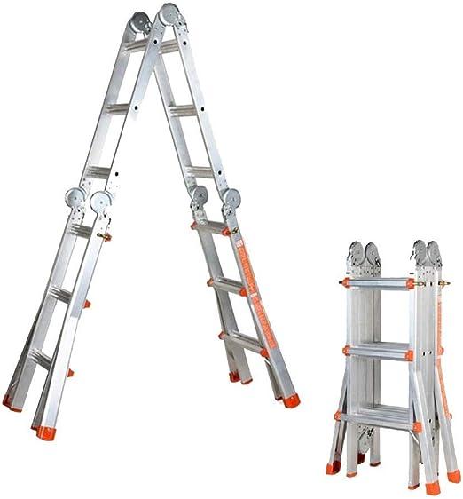 SYF escalera de aluminio para interiores y exteriores | escalera telescópica plegable de ingeniería, escalera portátil