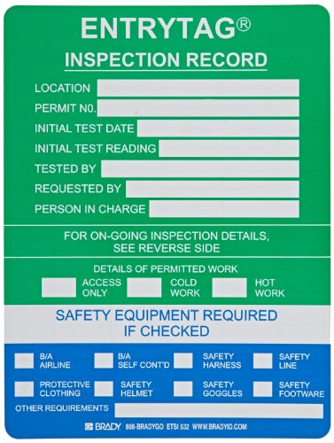 Brady ENT-ETSI532 5-3/4'' Height, 7-5/8'' Width, Vinyl, Green Color Entrytag Standard Inserts (Pack Of 100) by Brady (Image #1)