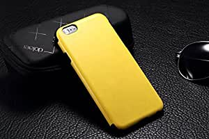 iPhone 6 Case, Deluxe Horse Skin Texture Calfskin Leather Case CoverLemon Yellow