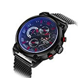 BINZI Waterproof Stylish Mens Watches, Wrist Sport Watch for Boy with Stainless Steel Black Band, Red