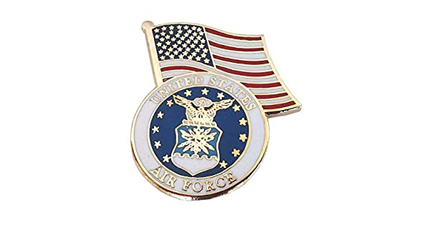 UNITED STATES AIR FORCE LOGO WITH USA FLAG  Military Veteran Hat Pin P13774 EE