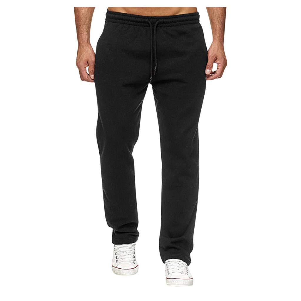 Men's Sweatpants Autumn Winter Fashion Long Casual Sport Pants Slim Fit Trousers Drawstring Running Joggers Trouse Black by Sinzelimin