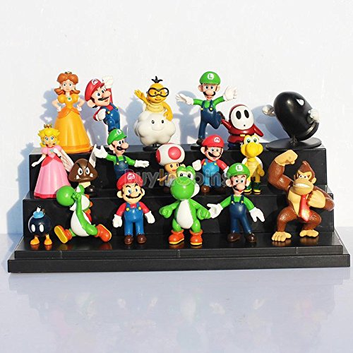 18 pcs Mini Super Mario Bros Lot Action Figure Doll Toy Gifts So Cute Funny (Where Is Mario)