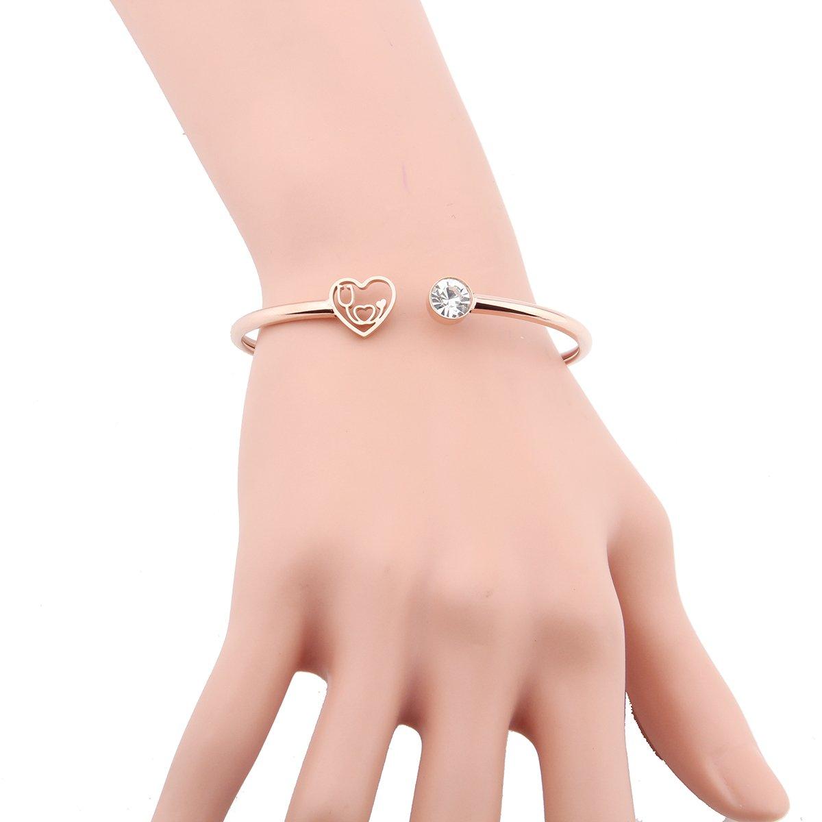 ENSIANTH Rose Gold Heartbeat Jewelry Nurse Stethoscope Bracelet Cuff Bangle for Nurse Day Gift