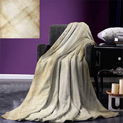 smallbeefly Tan Digital Printing Blanket Striped Vintage Faded Squares Angled Lines Dated Antique Display Modern Pattern Summer Quilt Comforter 80''x60'' Beige Tan by smallbeefly