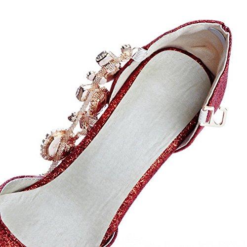 Amoonyfashion Kvinnor Slutna Tå Pekade-tå Kattunge Klackar Pumpar-skor Med Zirkon Och Juveler Röda