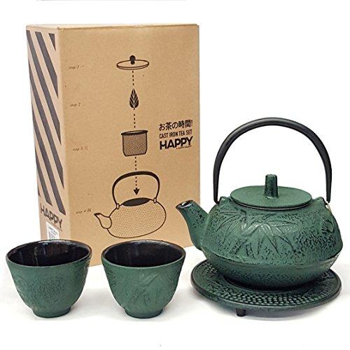 Happy Sales HSCT-BMG04, Cast Iron Tea Pot Tea Set Green Bamboo