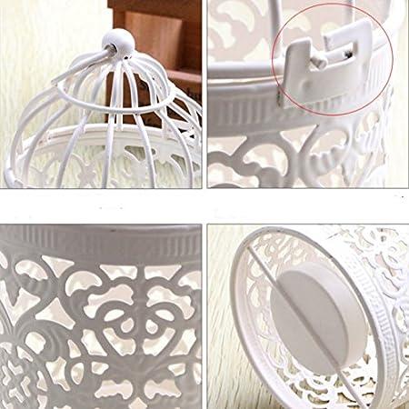 Mesa casa Portavelas de Metal con Forma de Jaula de P/ájaros y Velas para Decoraci/ón de Boda Dylandy 1 Pcs Metal 8 * 8 * 14CM