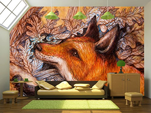 Red Fox Portrait Colorful Painting with Ornamental Background