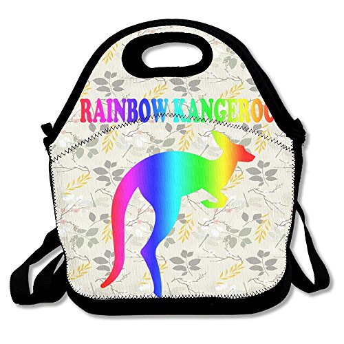 Nngsiko Rainbow Kangeroo Lunch Bag Thermal Insulated Tote Picnic Lunch Cooler Box Pouch Picnic Bento Box
