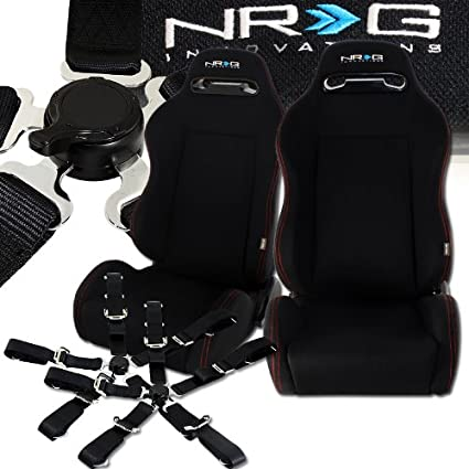 Amazon.com: Universal NRG Type R Style Black Cloth Reclinable Racing