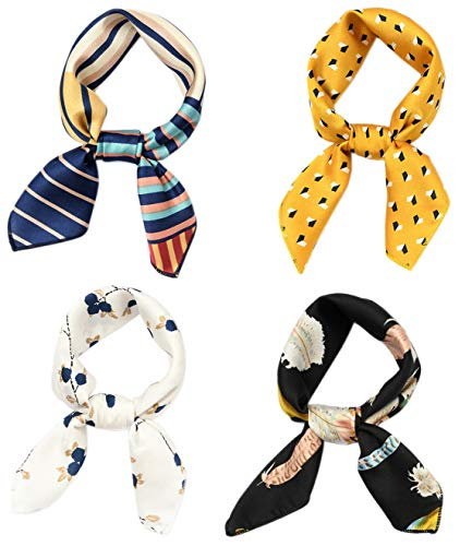 (Hixixi 4 PCS 50s Satin Neck Scarf Floral Feather Striped Small Square Neckerchief Headbands Head Scarf for Women Girl (Multicolor C#))