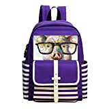 Fashion Printed Backpack Colored Pig Glasses School Bag