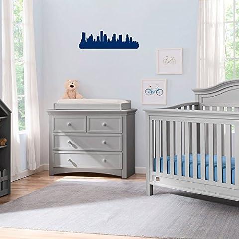 (2x) Nursery Series Houston Texas Skyline 4 Sticker for Cribs, Walls, Dressers, and More! (Navy) (Houston Crib)