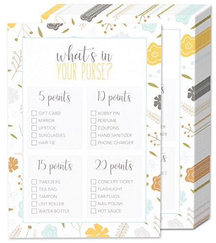 "50 Baby Shower Game Sheets ""What's in Your Purse?"" Party Games - for Boy or Girl Unisex Gender Neutral - for 50 Guest Activities Supplies - 5 x 7 Inches (Baby Shower Cheap Decorations)"