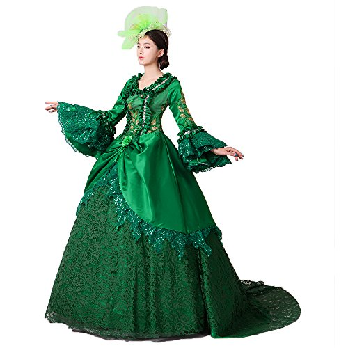 Women Civil War Marie Antoinette Wedding Dress Southern Belle Rococo Queen Stage Party Banquet Victorian Ball Gowns (L, Green)]()