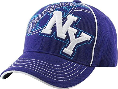 Velcro Adjustable Baseball Cap - KBC-08 PUR JNR NY New York Kids Velcro Adjustable Baseball Cap Hat