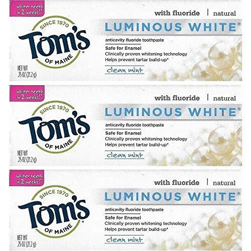 Tom's of Maine Natural Luminous White Fluoride Travel Size Toothpaste (3 Tubes)