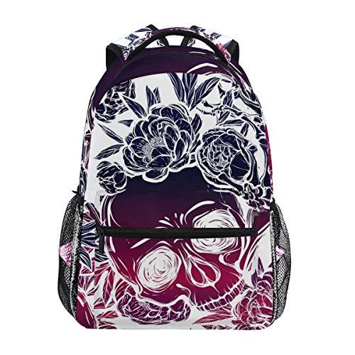 COVOSA Vector Illustration Halloween Skull Peonies Handmade Lightweight School backpack Students College Bag Travel Hiking Camping Bags ()