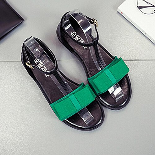 Transer Ladies Bowknot Leisure Flat Sandals- Women Summer Ankle Strap Sandals Comfortable Shoes Casual Green qaHhF9