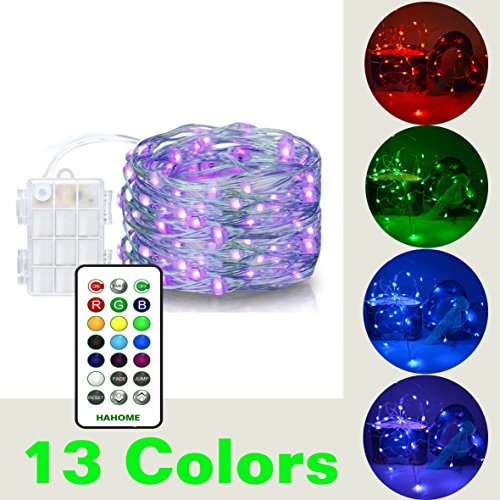 20' Strand (HAHOME Fairy String Lights, 20Ft 60 LEDs Battery Operated Lights Multi Color Changing String Lights with Remote Control for Bedroom Patio Garden Christmas Tree)
