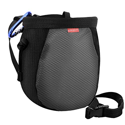 Rhino Valley Chalk Bag,No Leak Rock Climbing Strawstring Bag Drawstring Magnesia Sack with Adjustable Belt Carabiner for Gymnastics, Rock Climbing, Bouldering, Weight-Lifting, Crossfit