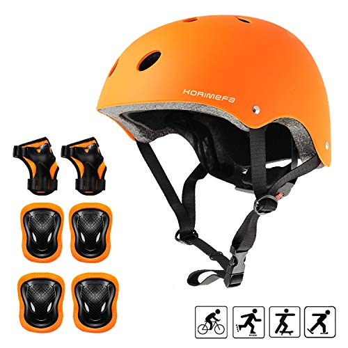 - KORIMEFA Kids Helmet Knee Pads for Kids 3-8 Years Toddler Helmet, Kids Bike Skateboard Helmet Youth Cycling Scooter Rollerblading Protective Gear Adjustable Helmets for Kids (Orange)