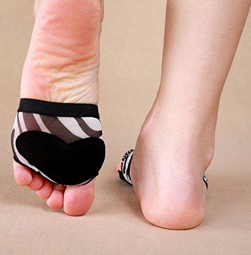 Ballet pied Bellyqueen 4 Pieds Dancewear Zèbre Protection Danse Coussinets Nu De Oriental Strings Chaussure Tailles Femme Pied Paires xazwx