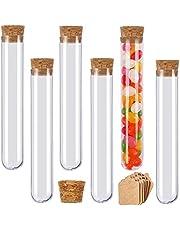 Reageerbuizen plastic reageerbuizen met kurk voor bloemen gastgeschenken bruiloft snoep badzout specerijen (150 x 20 mm, 30 ml, 15 stuks)