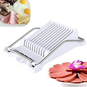 Luncheon Meat Slicer Boiled Egg Fruit Slicer Stainless Steel Soft Food Cheese Sushi Cutter Canned Meat Cutting Machine with 10 Singing Cutting Wires in White