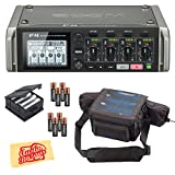 Zoom F4 MultiTrack Field Recorder Bundle with Zoom BCF-8 Battery Case, PCF-8 Protective Case, 8 Batteries, and Austin Bazaar Polishing Cloth