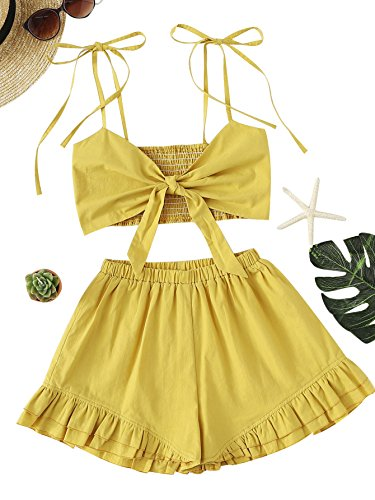 Romwe Women's Summer Romper Knot Front Shirred Cami Top with Shorts Set Jumpsuit Yellow M (Shirred Knot)