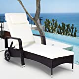 Tangkula Patio Reclining Chaise Lounge Outdoor Beach Pool Yard Porch Wicker Rattan Adjustable Backrest Lounger Chair (with Wheel)