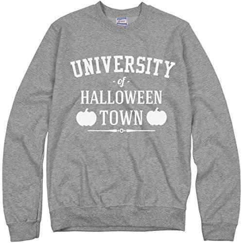 Customized Girl University of Halloween Town Sweater: Unisex Ultimate Crewneck Sweatshirt Heather Grey ()