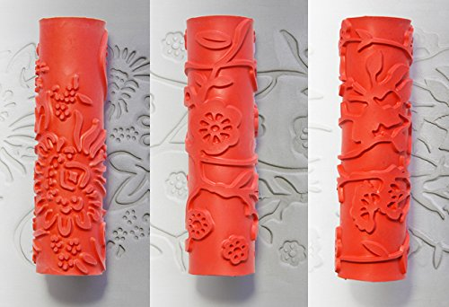 Xiem Studio Tools Art Rollers For Clay, Ceramics, and Sculpting Mediums Set #4 - Carnation, Moon Flower, and Plum Blossom by Xiem Tools (Image #4)