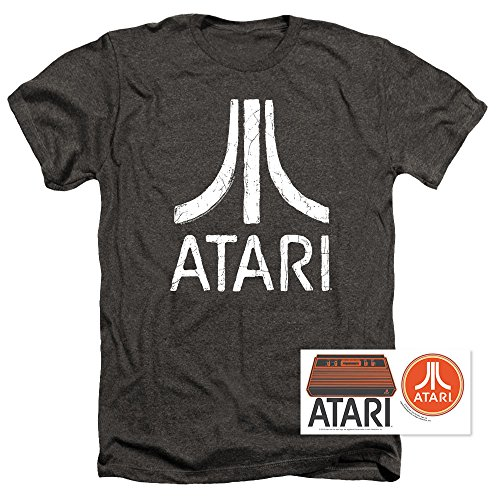 Popfunk Atari Video Game Retro Logo Vintage Gaming Console T Shirt & Stickers (Large, Charcoal Heather)