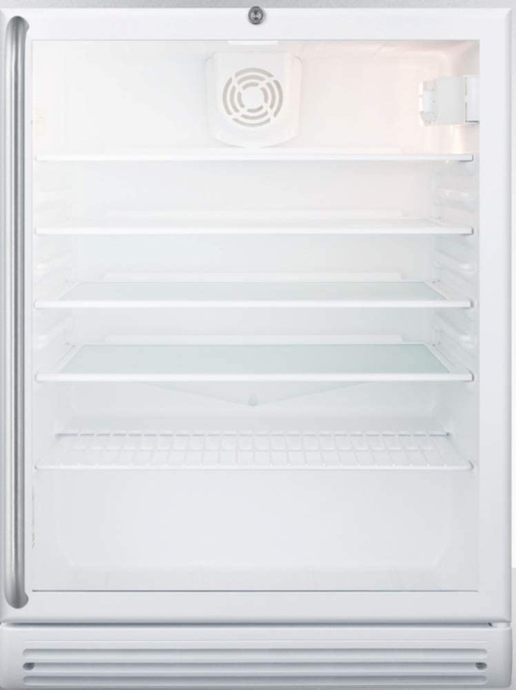 Summit Appliance SCR600GLBISHADA Commercially Listed ADA Compliant Built-in Undercounter Beverage Center with Glass Door, Adjustable Thermostat, Full-Length Towel Bar Handle, Lock and White Cabinet