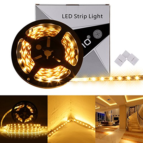 LEDMO LED Light Strip, SMD 2835 Warm White 3000K, Dimmable, 3modes, Non-Waterproof , 300LEDs 16.4 Ft 15Lm/LED, With Led Strip Light Connector