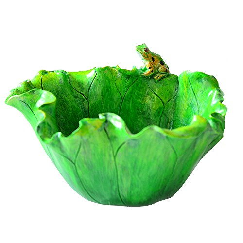 Creative Funny Resin Lotus Leaf Planter Pots with Hole Small Potted Succulent Planters Vase Bowl Rustic Frog Fairy Garden Design Indoor Tabletop Home Decor Storage Urn Crafts Ornament (Lotus Leaf)