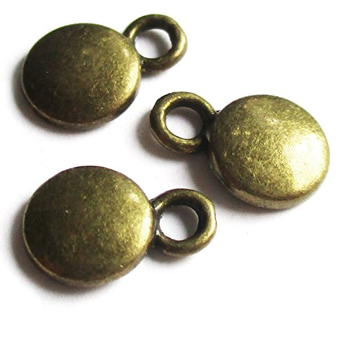 Heather's cf 249 Pieces Brass Tone Small dots Beads DIY Charms Pendants 10X6mm ()
